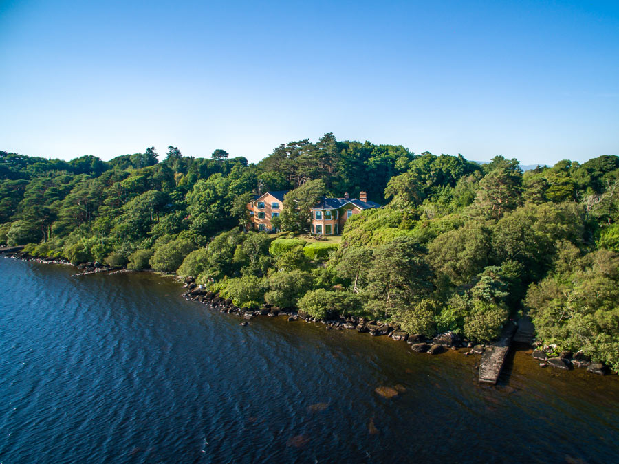 Aerial view of Carrig House from the lake